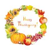感恩花圈 果子,菜-南瓜,苹果,葡萄,离开 水彩 免版税库存照片