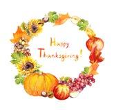 感恩花圈 果子,菜-南瓜,苹果,葡萄,离开 水彩 免版税库存图片