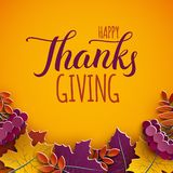 感恩贺卡,祝贺文本 秋天在黄色背景的树叶子 秋季假日设计秋天横幅 向量例证