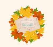 感恩 在老纸张的五颜六色的秋叶 免版税库存图片