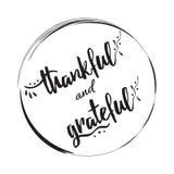 感激的感恩的传染媒介手拉的标志到黑圈子框架里 库存例证