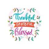 感激的感恩的保佑的字法 向量例证