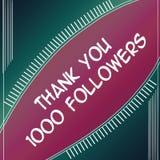 感谢追随者1000紫色 免版税库存图片