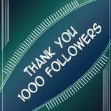感谢追随者1000蓝色 库存图片