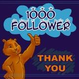 感谢1000个追随者 免版税图库摄影