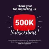 感谢500k订户庆祝背景设计 500数千订户网岗位或社会媒介故事的传染媒介模板 皇族释放例证