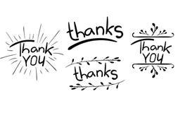 `感谢oyou `,并且在白色感谢`词隔绝的` 与手拉的元素的信件 VECTR 投反对票 向量例证