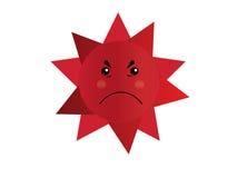 愤怒太阳动画片传染媒介孤立 免版税图库摄影