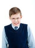 愤怒男孩一点表示 免版税库存照片