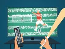 愤怒的人观看的橄榄球/足球在电视 坏信号和图片 有控制板和棒球棒的手 皇族释放例证