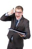 年轻愤怒的人移交文件 免版税库存照片