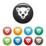 愤怒的北极熊象集合颜色头  库存例证