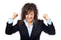 愤怒的女实业家 库存图片