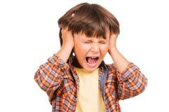 愤怒的小男孩 免版税库存图片