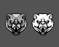 愤怒的科迪亚克熊顶头动画片吉祥人商标徽章 向量例证