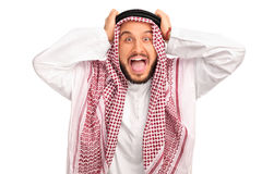 愤怒的年轻阿拉伯人 库存图片