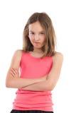 愤懑女孩画象  库存照片