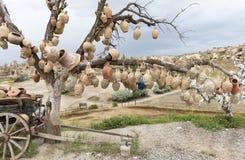 愿望树与泥罐的在卡帕多细亚 库存照片