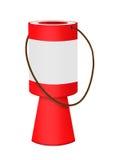慈善收集箱-与白色标签的红色,被隔绝 库存照片