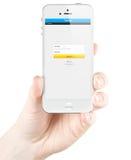慌张在苹果计算机iPhone 5s屏幕上的注册页 免版税库存图片