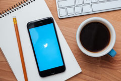慌张是一项网上社会网络和microblogging的服务 库存照片