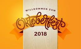 慕尼黑啤酒节与葡萄酒字法的秋天横幅 海报的,飞行物,邀请,贺卡,社会媒介模板 向量例证