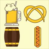 慕尼黑啤酒节元素 套啤酒杯,桶,热狗平的例证 简单的套oktoberfest和最小的舱内甲板 皇族释放例证