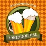 慕尼黑啤酒节隔绝了传染媒介例证,杯啤酒例证, willkommen zum 库存例证