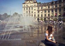 慕尼黑,在Karlsplatz-Stachus的夏时 免版税库存图片