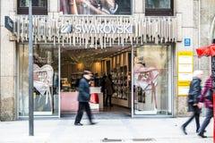 慕尼黑,德国- 2018年2月15日:卖在Marienplatz的Svarowski首饰 免版税库存照片