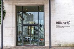 慕尼黑,德国- 2018年2月16日:安联总部位于市慕尼黑,德国 图库摄影