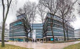慕尼黑,德国- 2018年2月16日:新的西门子总部大厦在市慕尼黑安置 库存图片