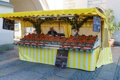 慕尼黑,德国- 2017年10月20日:草莓的卖主 免版税库存照片