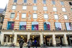 慕尼黑,德国- 2018年2月15日:路德维希・贝克卖秀丽、化妆用品、音乐、生活方式和时尚产品  库存照片