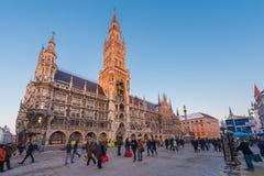 慕尼黑,德国- Janurary 20日2017年:Marienplatz是中心 库存照片