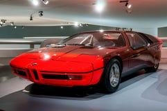 慕尼黑- 1月5 :BMW ` s独特的M1展示在立场的Sportcar在BMW博物馆5在慕尼黑,德国 免版税图库摄影