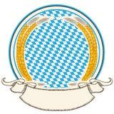 慕尼黑啤酒节标签。巴伐利亚与s的旗子背景 免版税库存照片