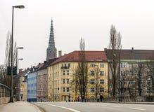 慕尼黑看法从Corneliusbrücke,德国,巴伐利亚的 图库摄影