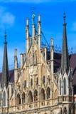 慕尼黑,哥特式香港大会堂门面细节,巴伐利亚 库存图片