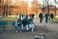 慕尼黑,德国, 2016年12月29日:朋友坐一条长凳在英国庭院里在大城市公园的慕尼黑一 免版税库存图片