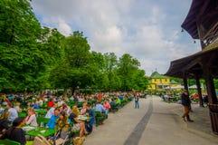 慕尼黑,德国- 2015年7月30日:著名地方Chinesischer Turmgarden,享用到处都是的人喝在a的啤酒 免版税库存图片