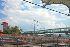 慕尼黑Froettmaning、地铁车站和火车depos 免版税库存图片