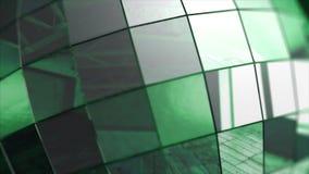 慢一个五颜六色的反射性迪斯科镜子球的特写镜头在模糊的色的背景 镜子球,动画 股票录像