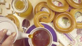 慢动作传统俄国茶会顶视图 影视素材