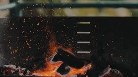 慢动作烤肉阵营木炭格栅火和微粒 股票视频