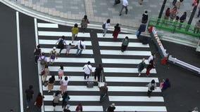 慢动作鸟瞰图,走在东京站丸之内的人人群  股票录像