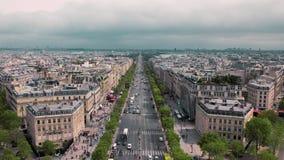 慢动作,冠军Elysee大道,屋顶的巴黎视图从上面 影视素材