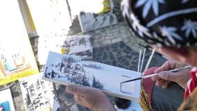 画慢动作4k的街道艺术家 影视素材