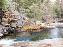 慢小河在秋天森林2里 库存图片