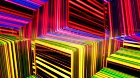 慢慢地移动抽象五颜六色的立方体,无缝的圈 o 与许多狭窄的霓虹灯线的黑3d立方体形象 向量例证